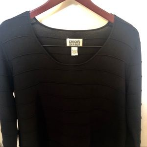Chico's Design Black ribbed long sleeve top 8/10
